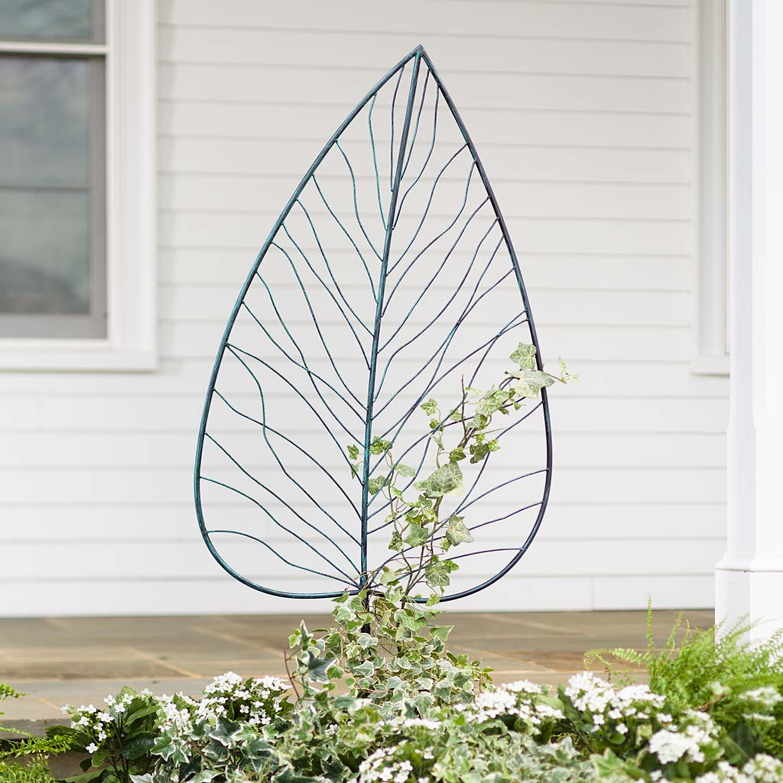 Metal Leaf Shaped Garden Trellis