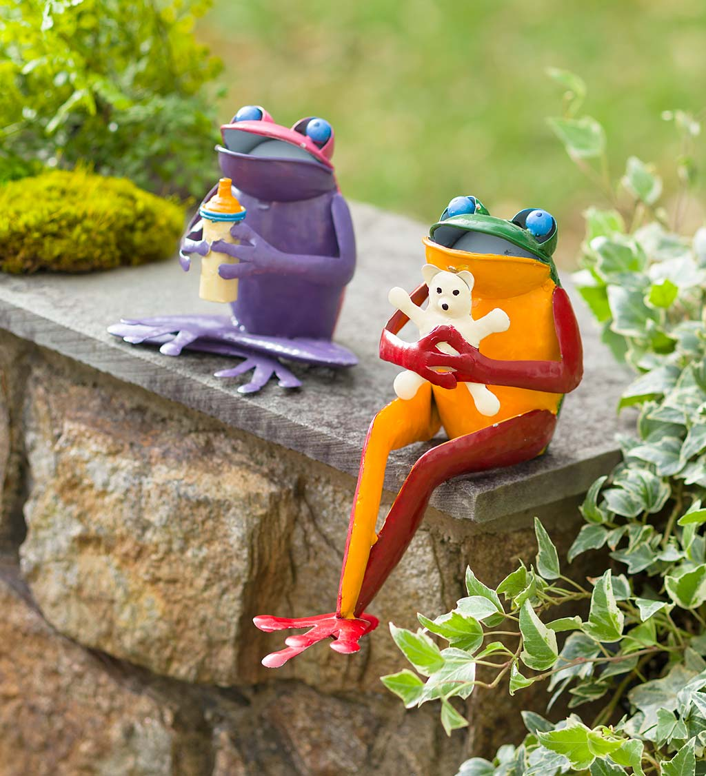 Recycled Metal Baby Frog Garden Art Statues, Set of 2