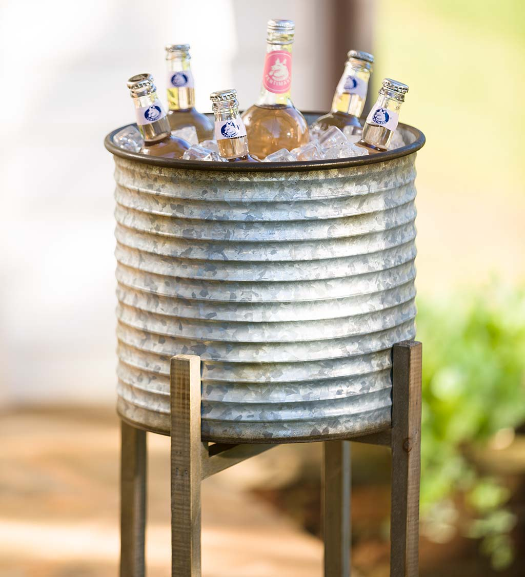 Galvanized Metal Bucket Planters on Wood Stands, Set of 3