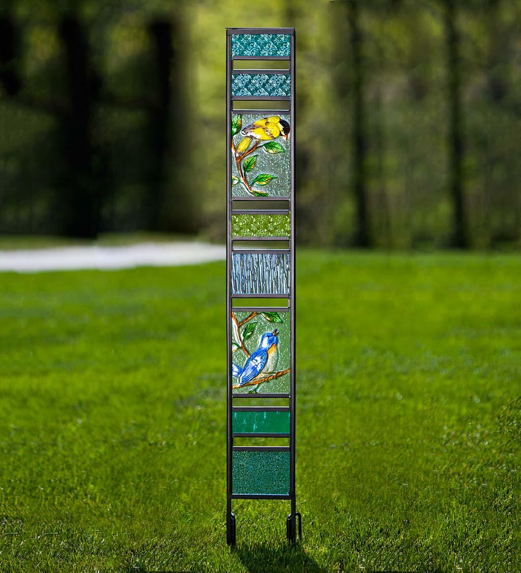 Glass Garden Panel with Bird Design