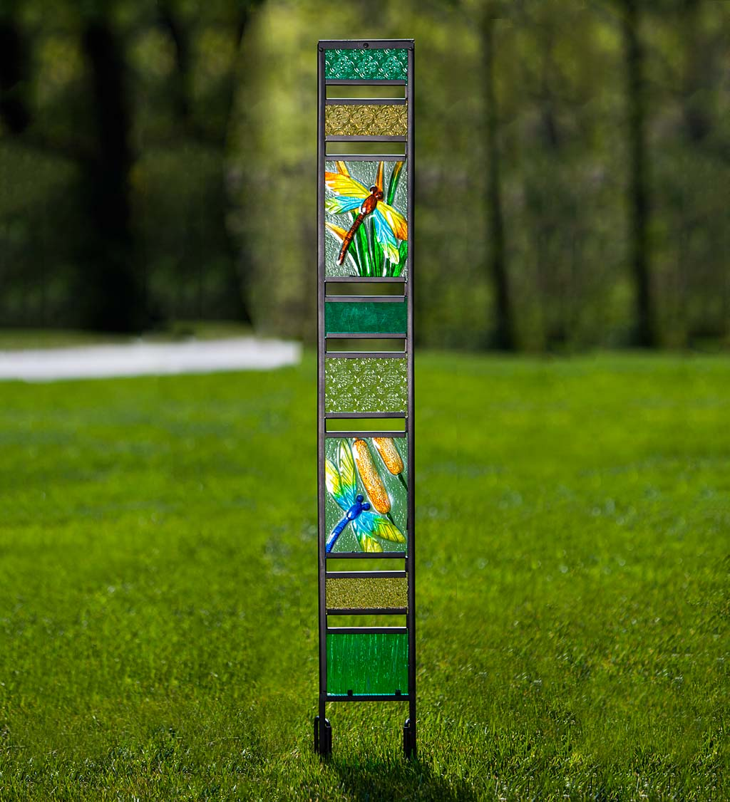 Glass Garden Panel with Dragonfly Design