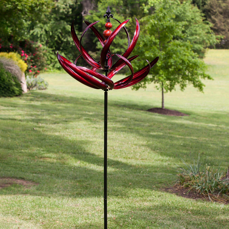 Crimson Lotus Metal Wind Spinner