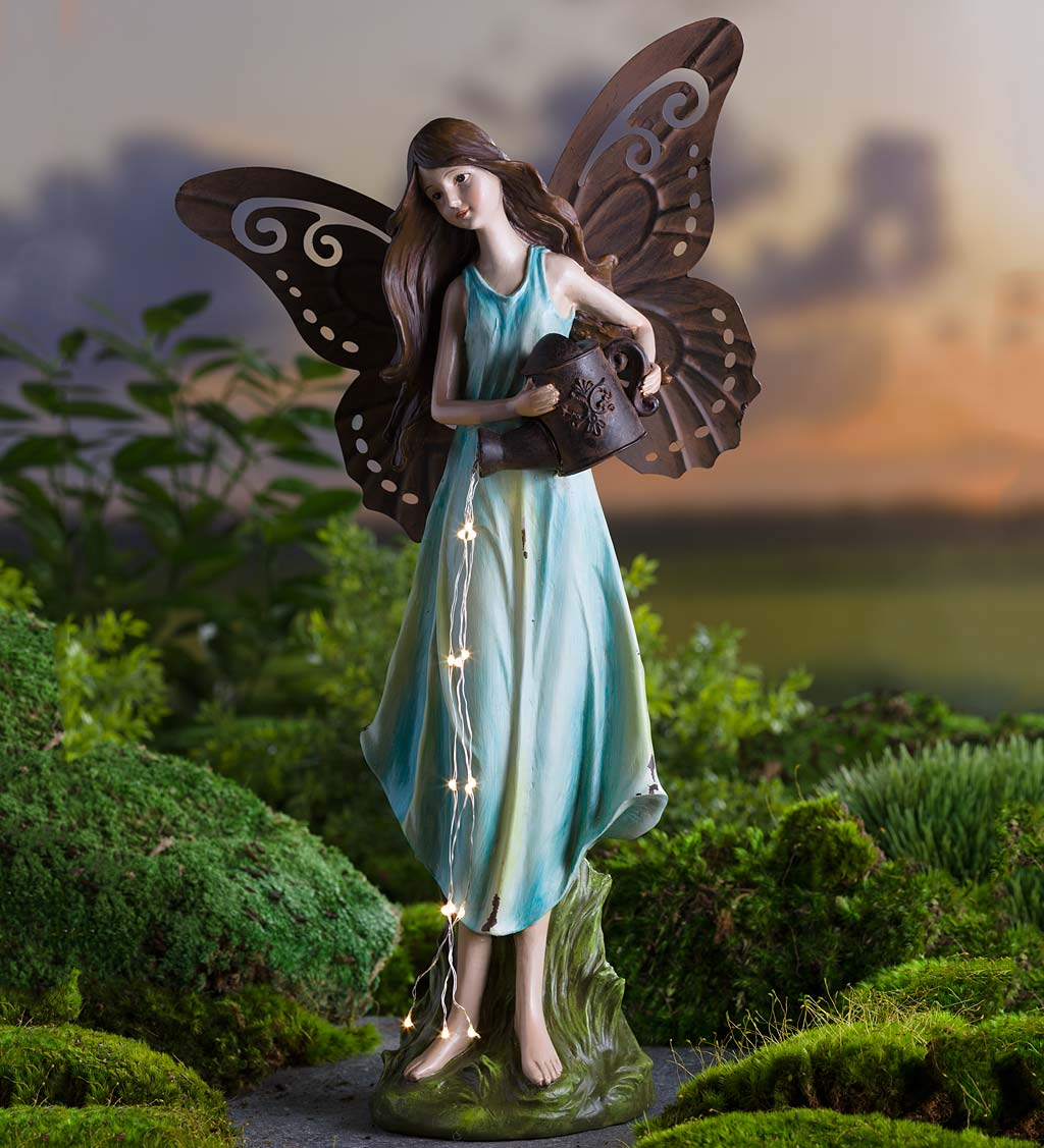 Solar Fairy Garden Statue with Lighted Watering Can