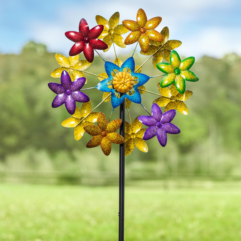 Colorful Metal Flower Wind Spinner