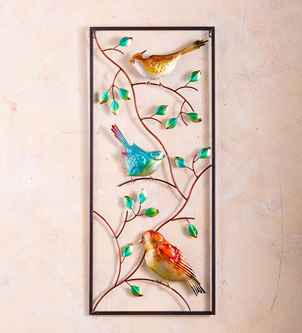 Indoor/Outdoor Metal Bird Vertical Wall Art