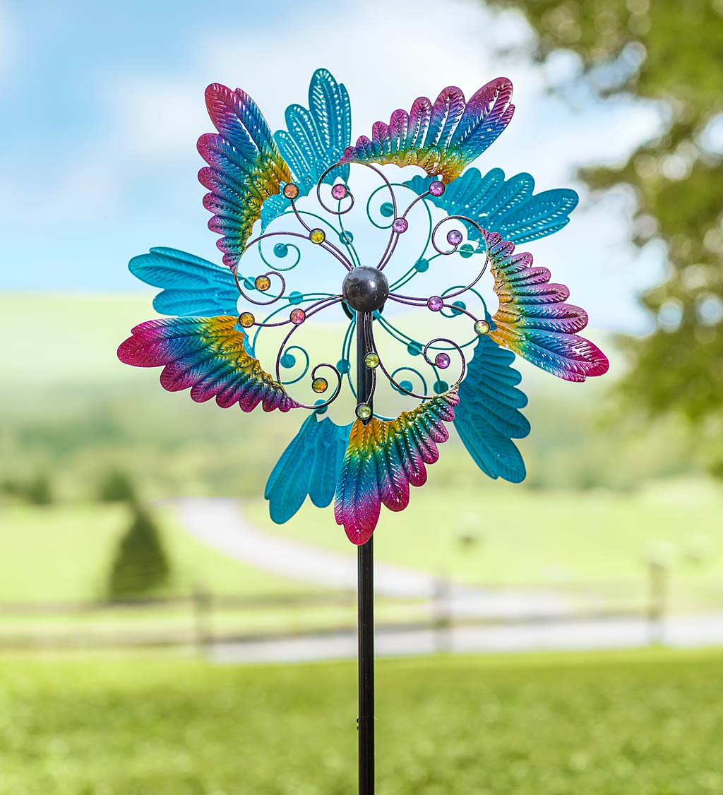 Colorful Bird Wing Wind Spinner with Gems