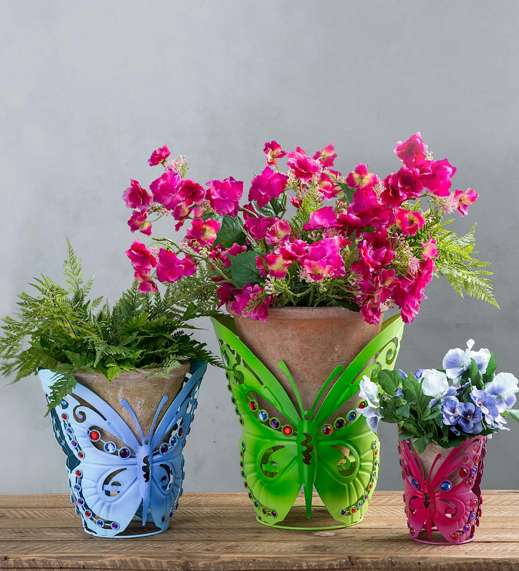 Jeweled Metal Butterfly Pot Holders, Set of 3
