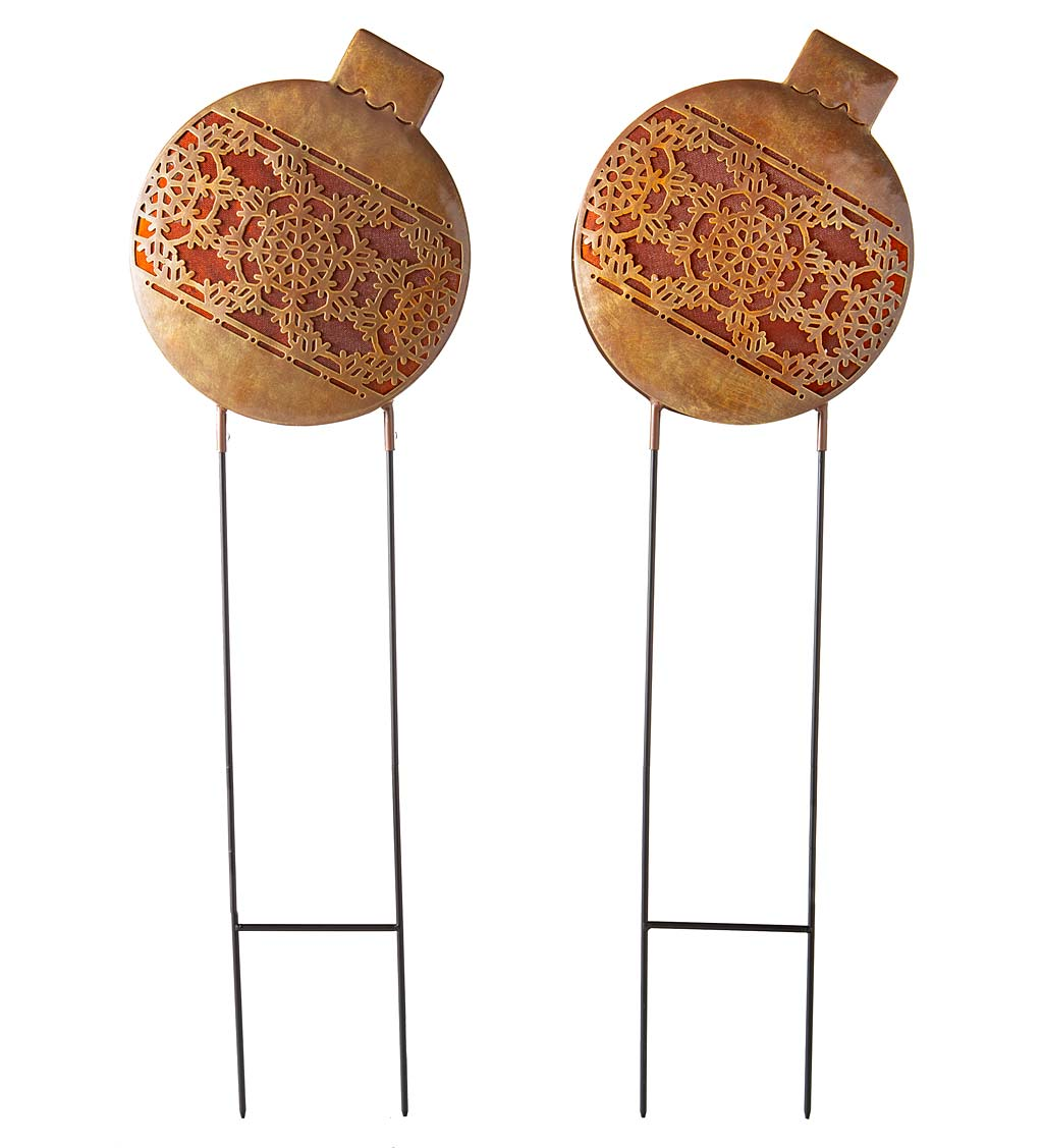 Oversized Lighted Christmas Ornament Garden Stakes, Set of 2