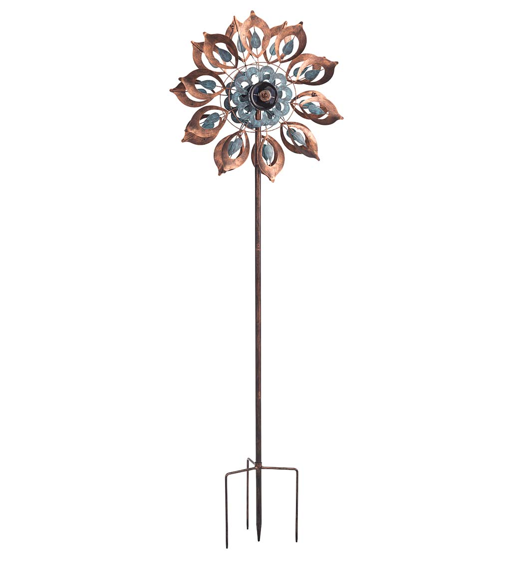Antique Blue and Copper Lily Flower Solar Wind Spinner
