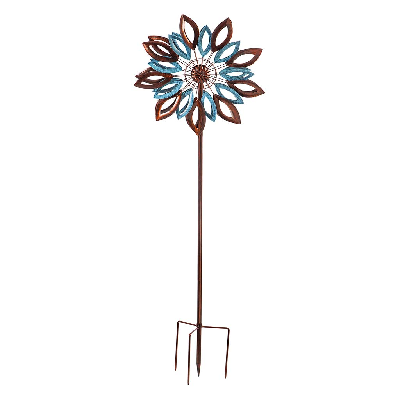 Verdigris and Copper Leaves Metal Wind Spinner