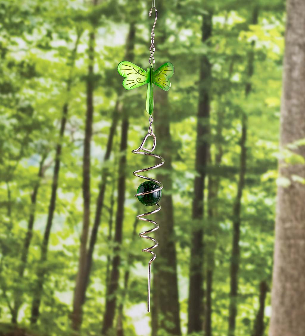 Illusion Swirl Hanging Wind Spinner with Glass Ball