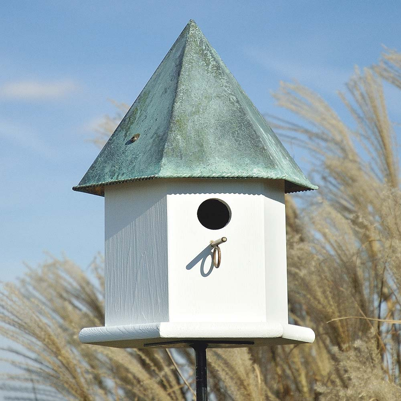 Copper Songbird Deluxe Birdhouse with Verdigris Patina Roof