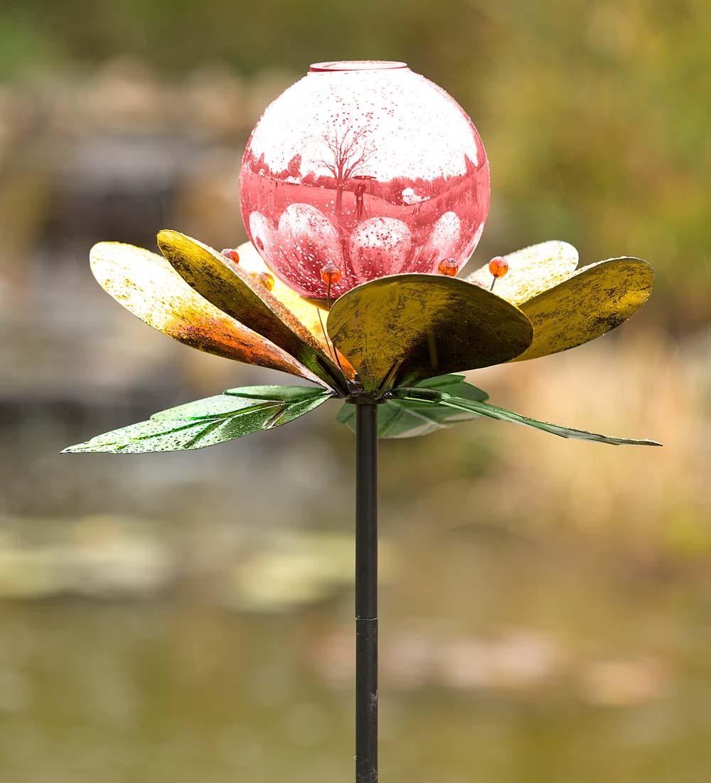 Solar Mercury Glass Globe Flower Garden Garden Wind Spinner