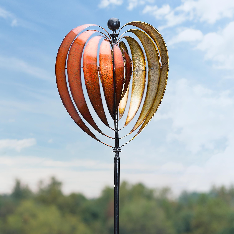Oversized Heart Ribbon Metal Wind Spinner