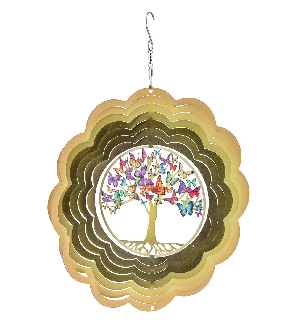 Hanging Butterfly Tree of Life Metal Optical Illusion Spinner
