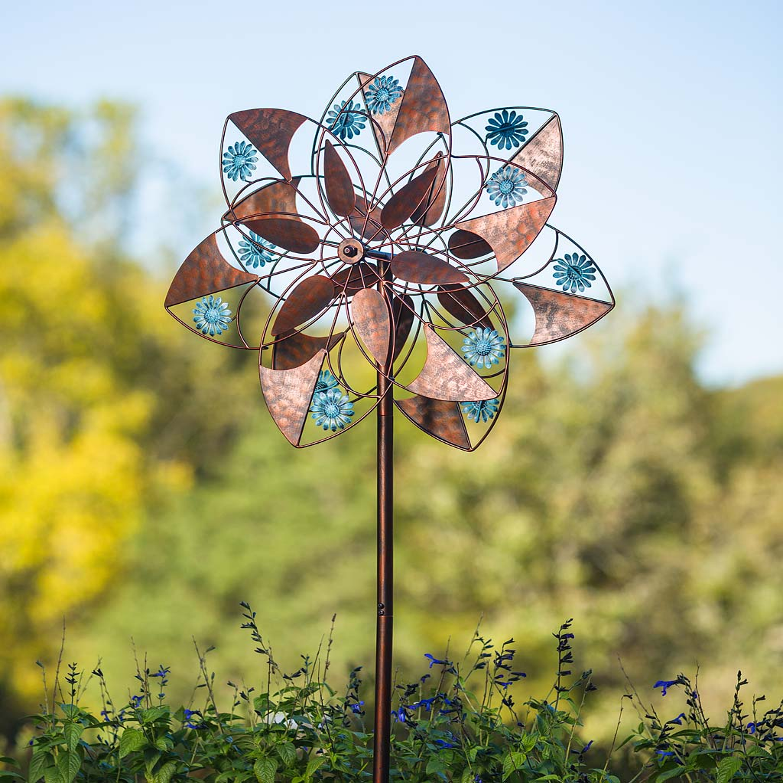 Blue Daisies Copper Flower Metal Wind Spinner