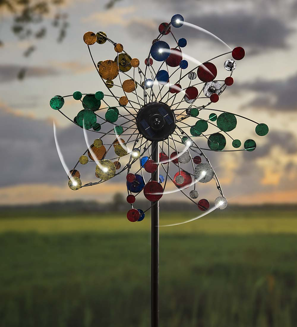 Solar Confetti Garden Wind Spinner with LED Lights