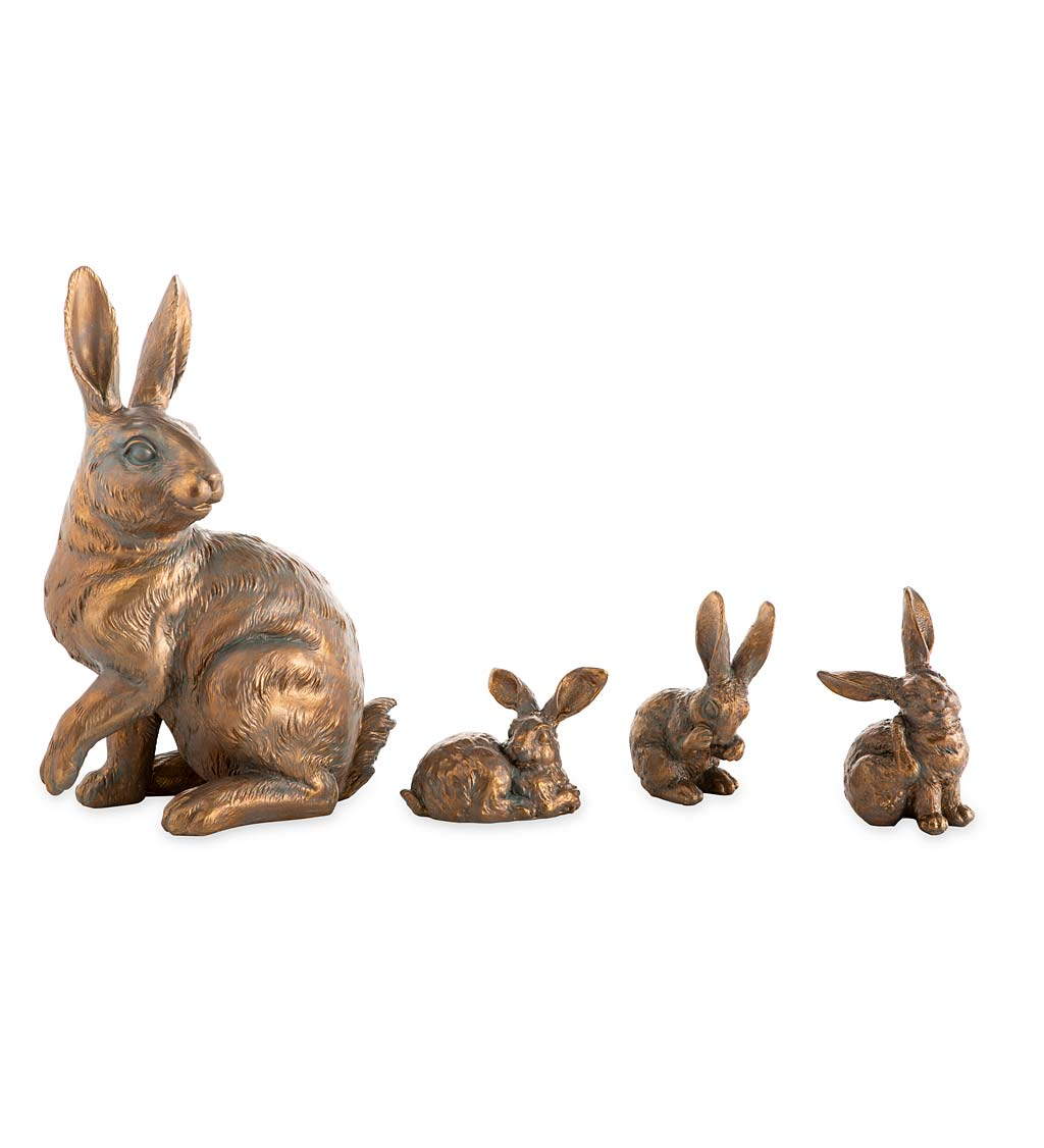 Rabbit Family with Mother and Three Babies, Set of 4