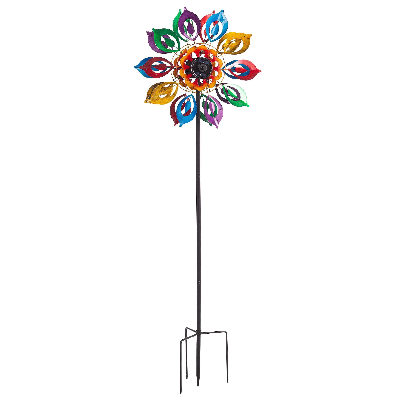 Multicolor Lily Flower Solar Wind Spinner