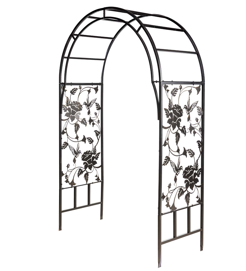 Metal Arched Hummingbird Garden Arbor