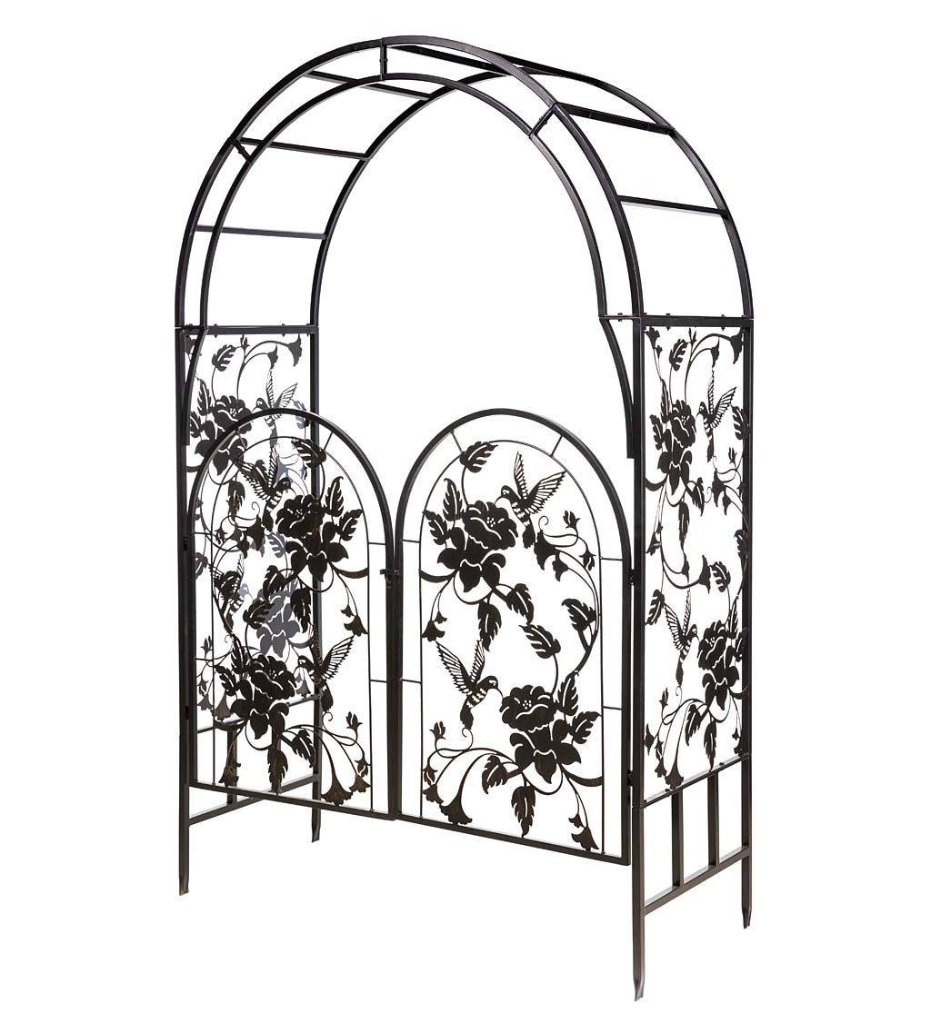 Metal Arched Hummingbird Garden Arbor with Gate