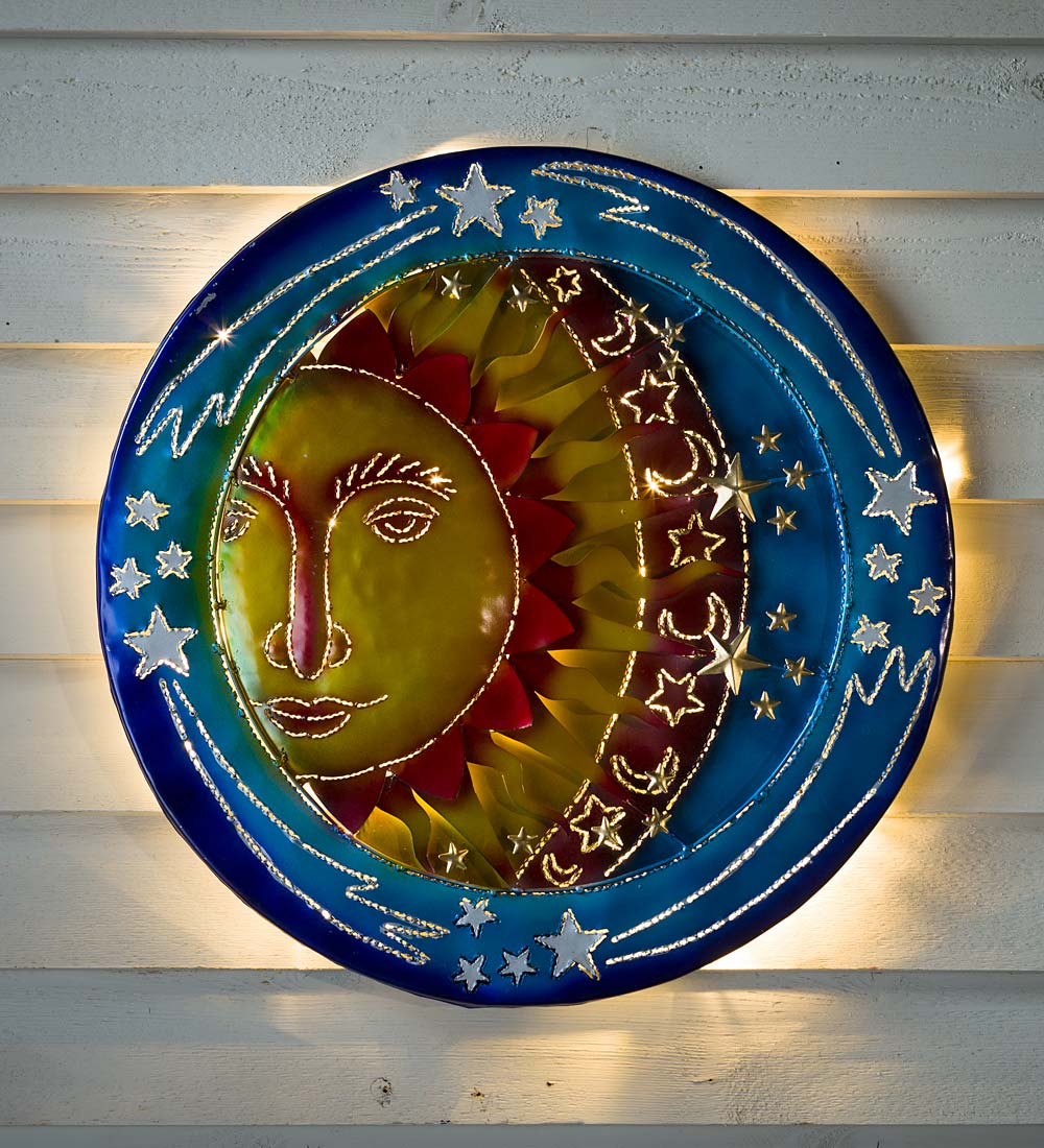 3D Lighted Celestial Recycled Oil Drum Lid Wall Art