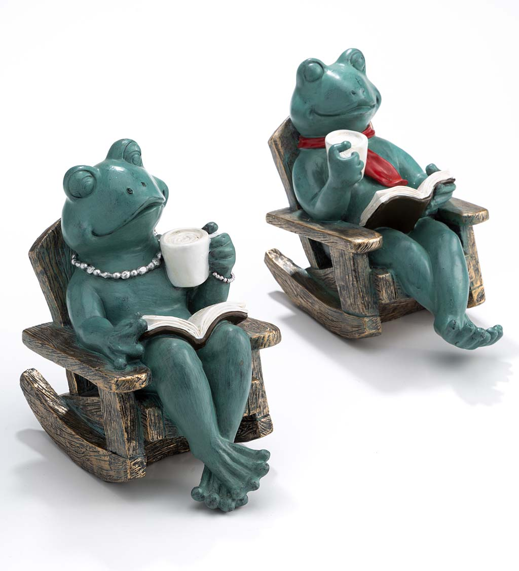 Lily and Paddy Reading Frog Statues, Set of 2