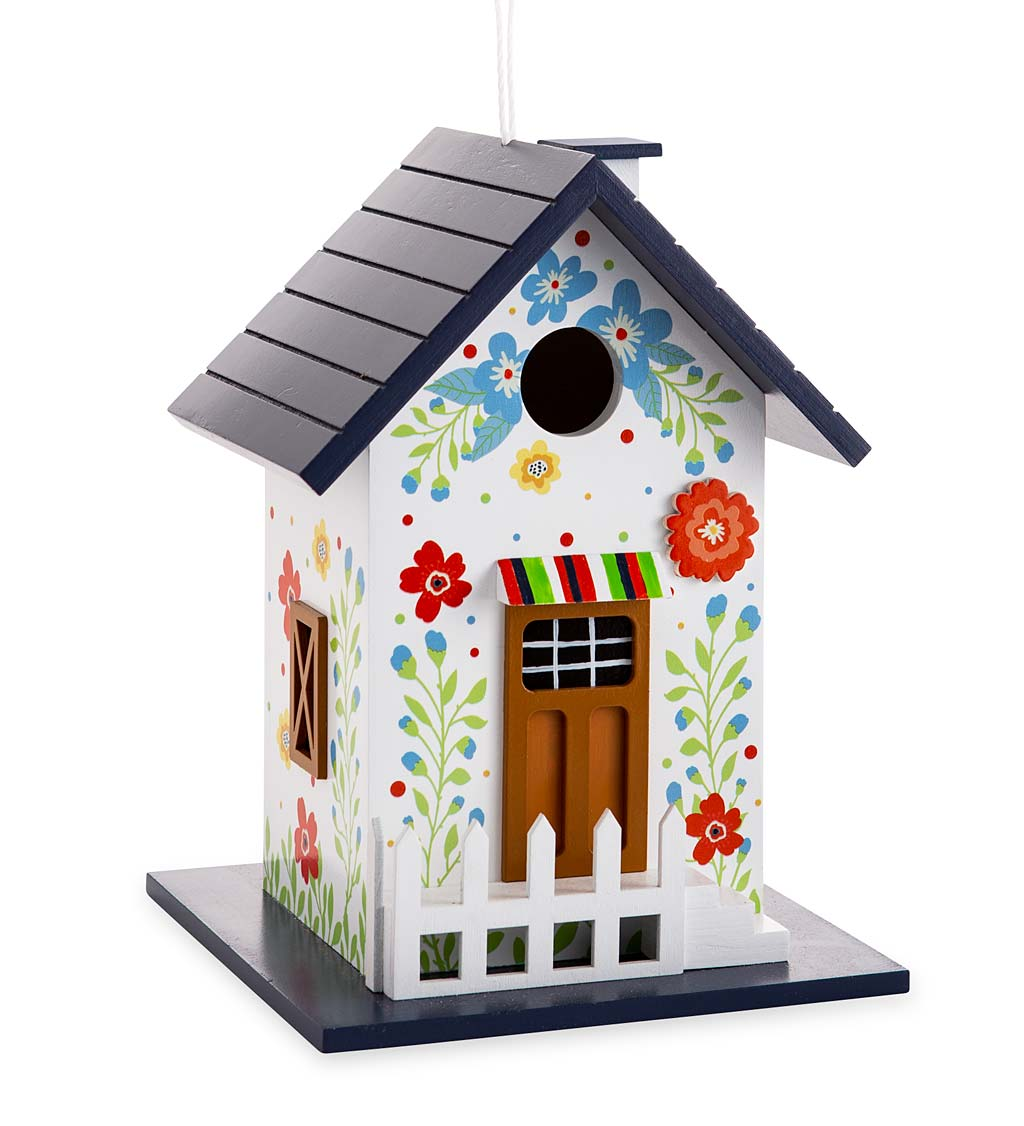 Hand-Painted Blooming Birdhouse with Floral Design (Home & Garden Decor) photo