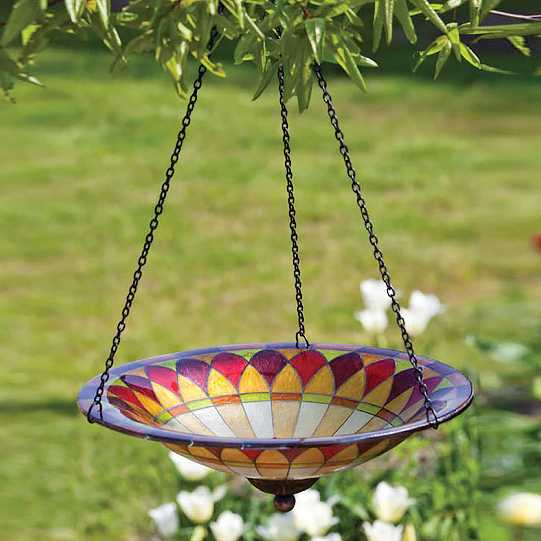 Hanging Glass Birdbath Tiffany Style