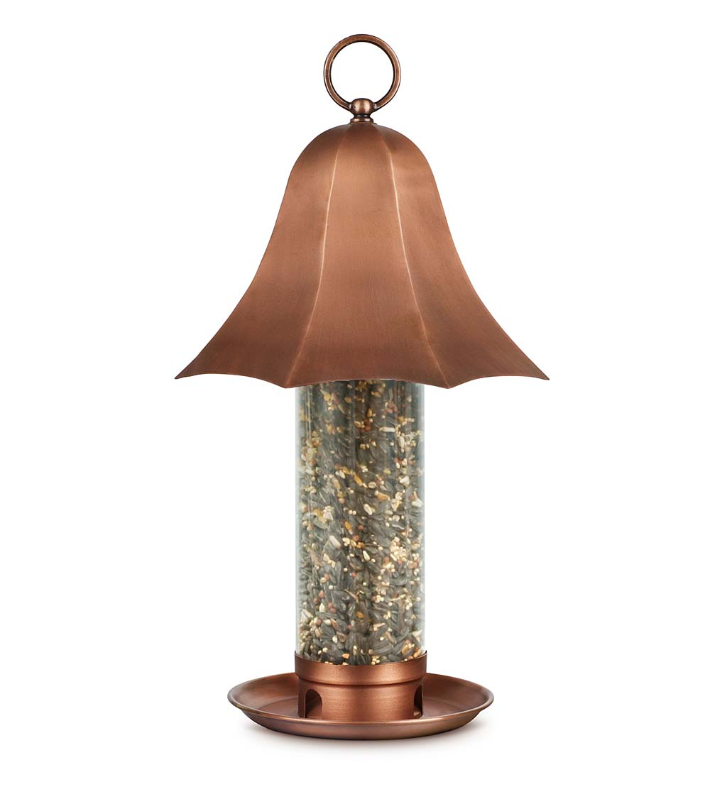 Copper-Colored Metal Bell Bird Feeder with Clear Seed Tube (Home & Garden Decor) photo