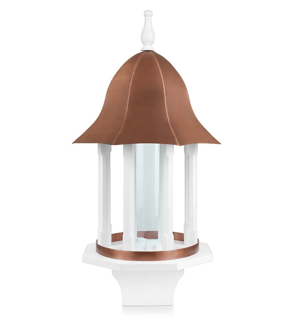 Copper-Roofed Manor Bird Feeder with White Hardwood Columns (Home & Garden Decor) photo