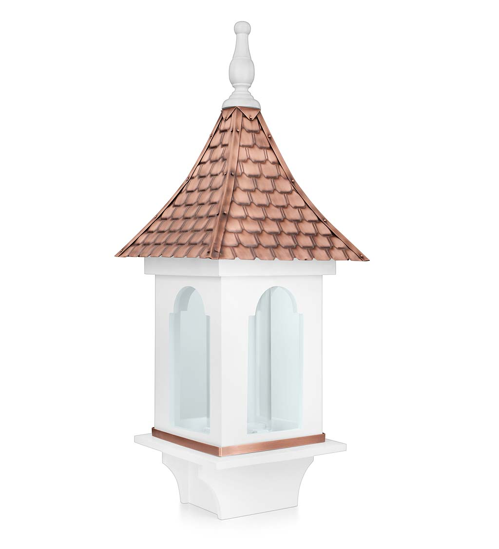 Hand-Hammered Copper and White Hardwood Villa-Style Bird Feeder (Home & Garden Decor) photo