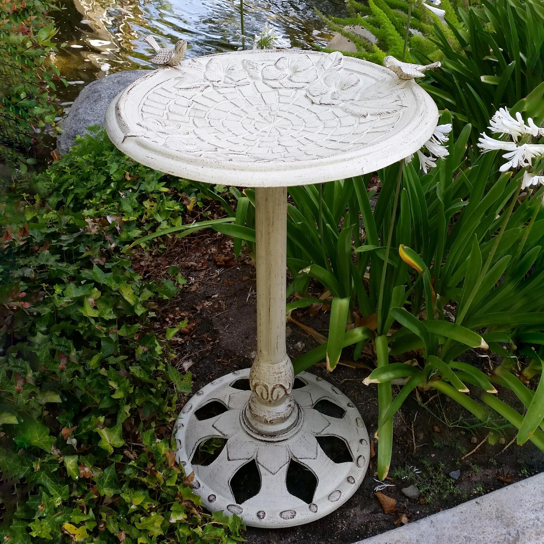 Floral Cobblestone Standing Metal Birdbath on Pedestal