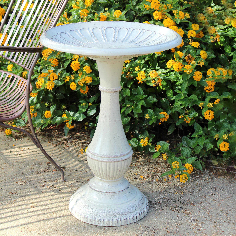 Kingston Vintage White Standing Metal Birdbath on Pedestal