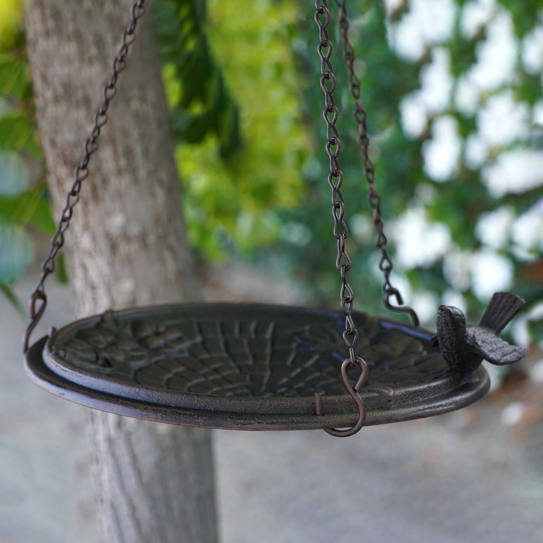 Floral Cobblestone Motif Hanging Metal Birdbath