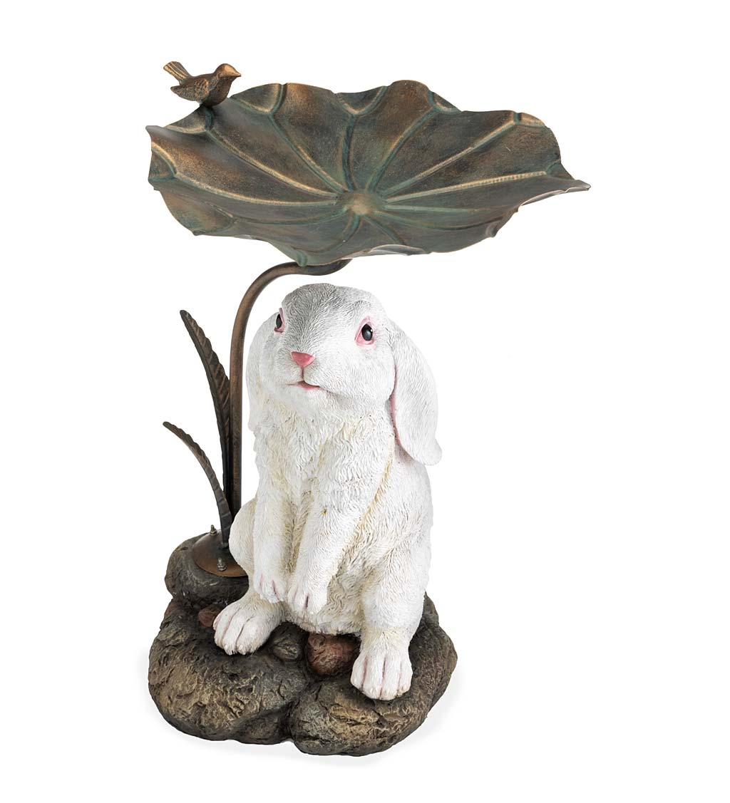 Stone-Look Bunny Birdbath with Metal Leaf Basin