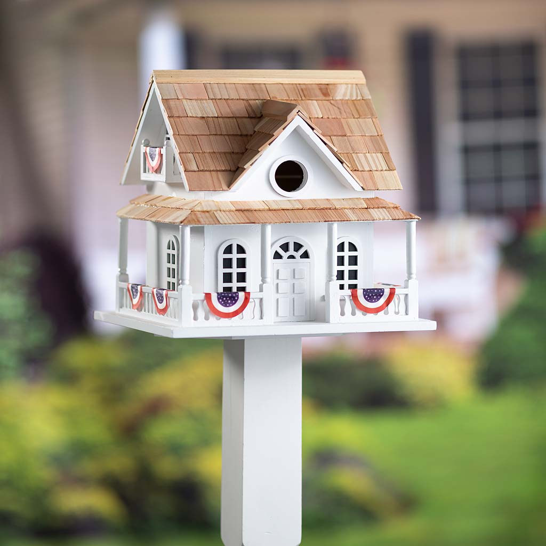Patriotic Birdhouse with Americana Bunting and Pedestal Pole (Home & Garden Decor) photo