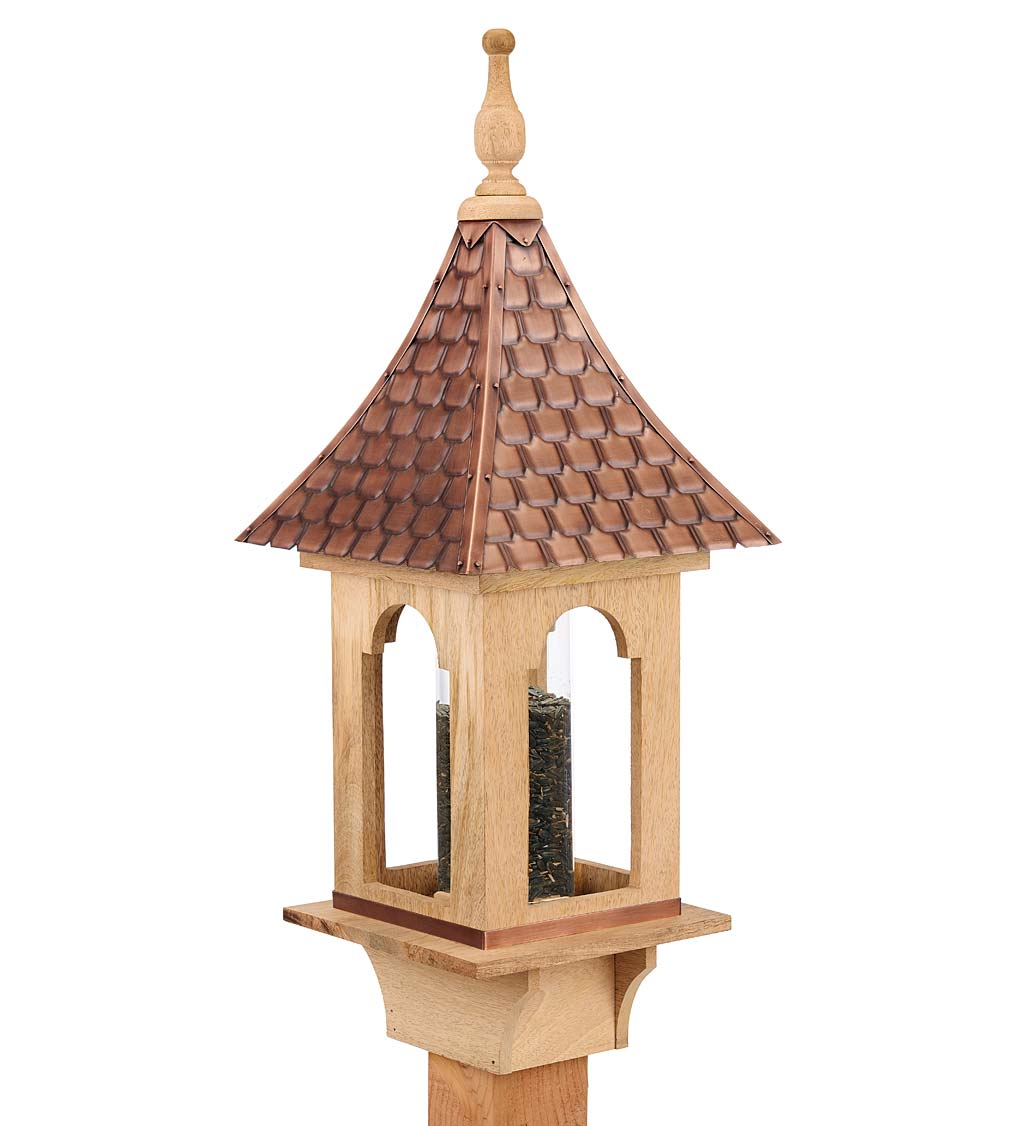 Hand-Hammered Copper and Unstained Hardwood Villa-Style Bird Feeder (Home & Garden Decor) photo