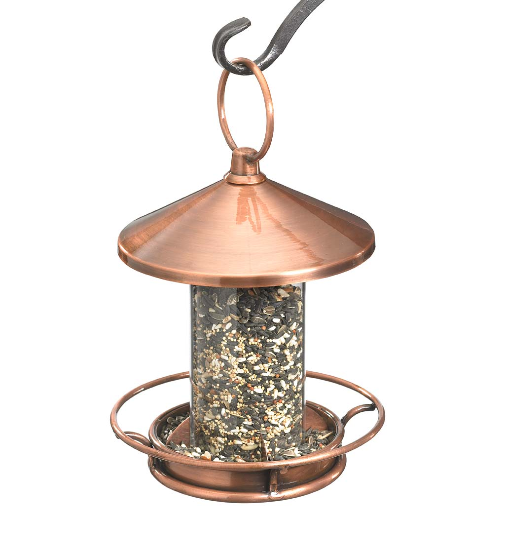 Classic Cylinder Perch Bird Feeder in Antiqued Copper and Plexiglass (Home & Garden Decor) photo