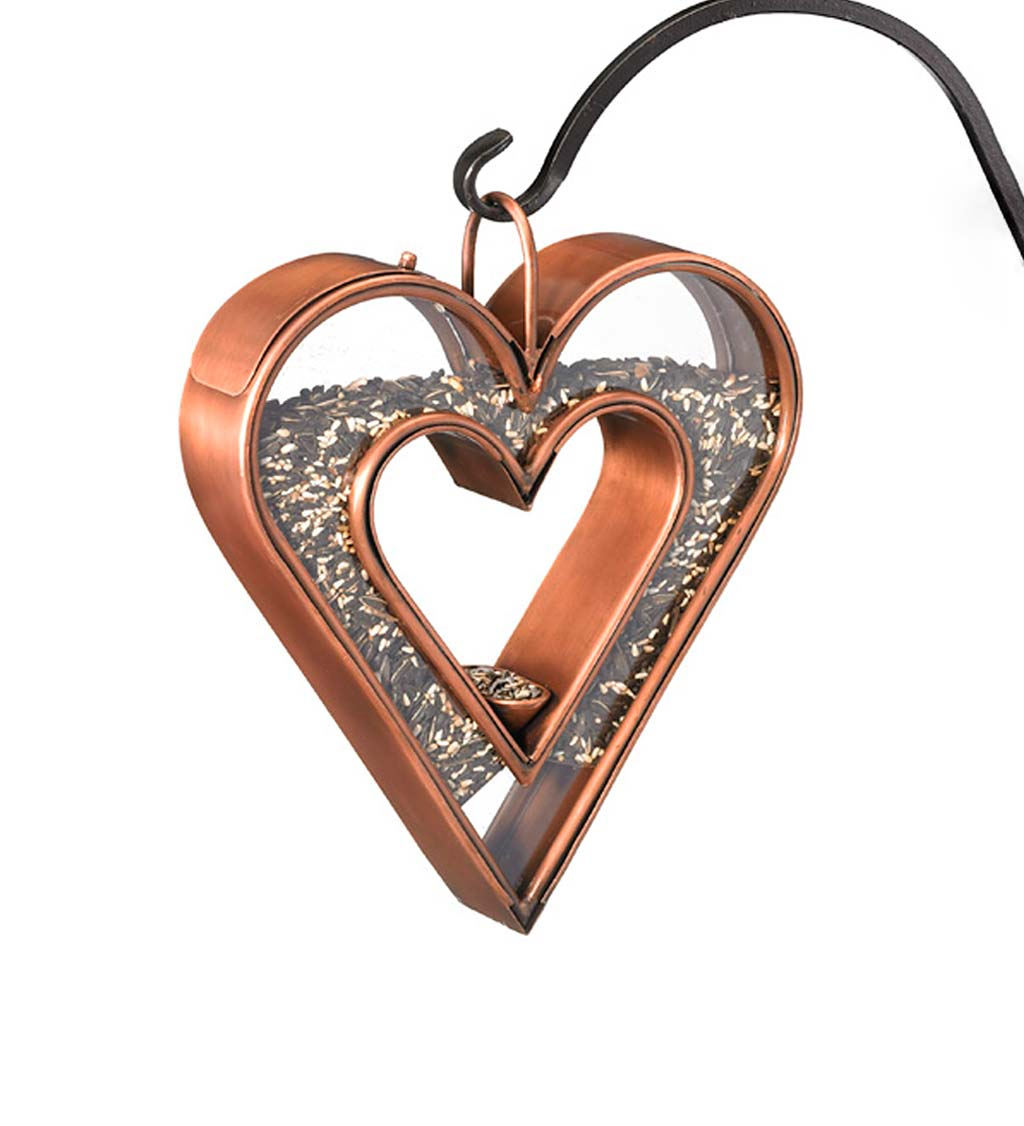 Heart-Shaped Copper and Plexiglass Fly-Thru Bird Feeder (Home & Garden Decor) photo