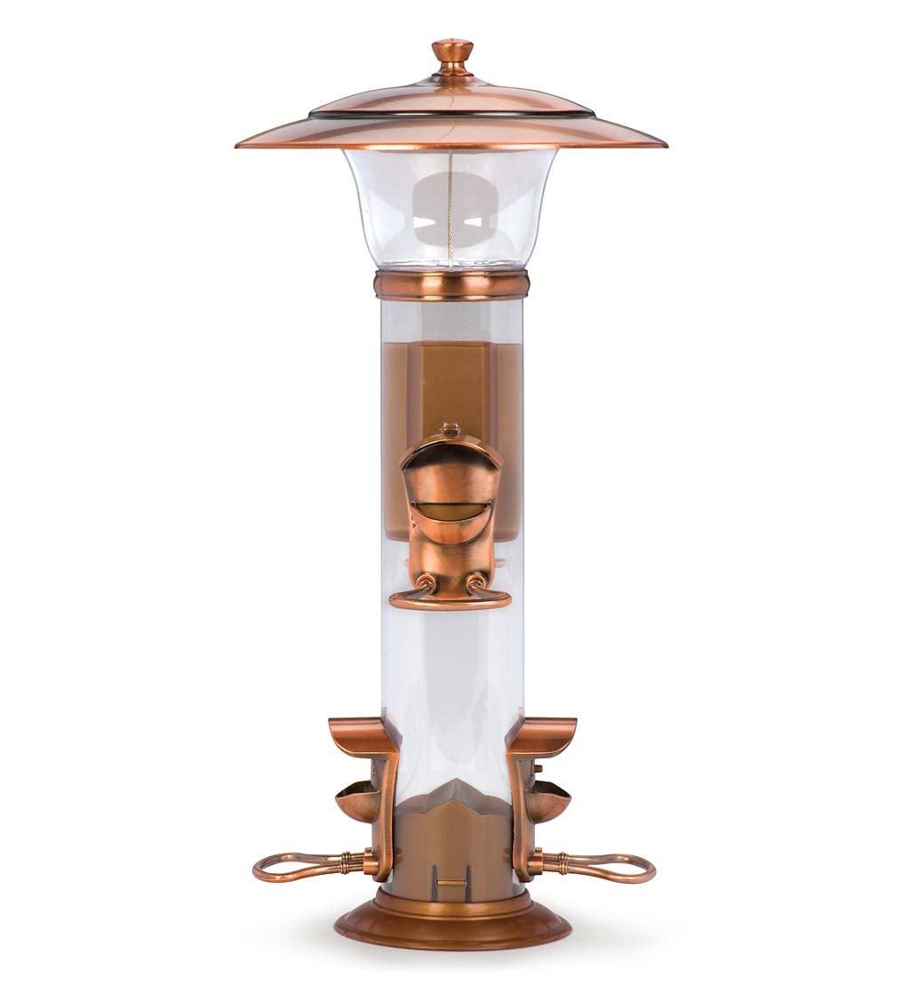 Copper-Finished Hanging Tube Bird Feeder (Home & Garden Decor) photo