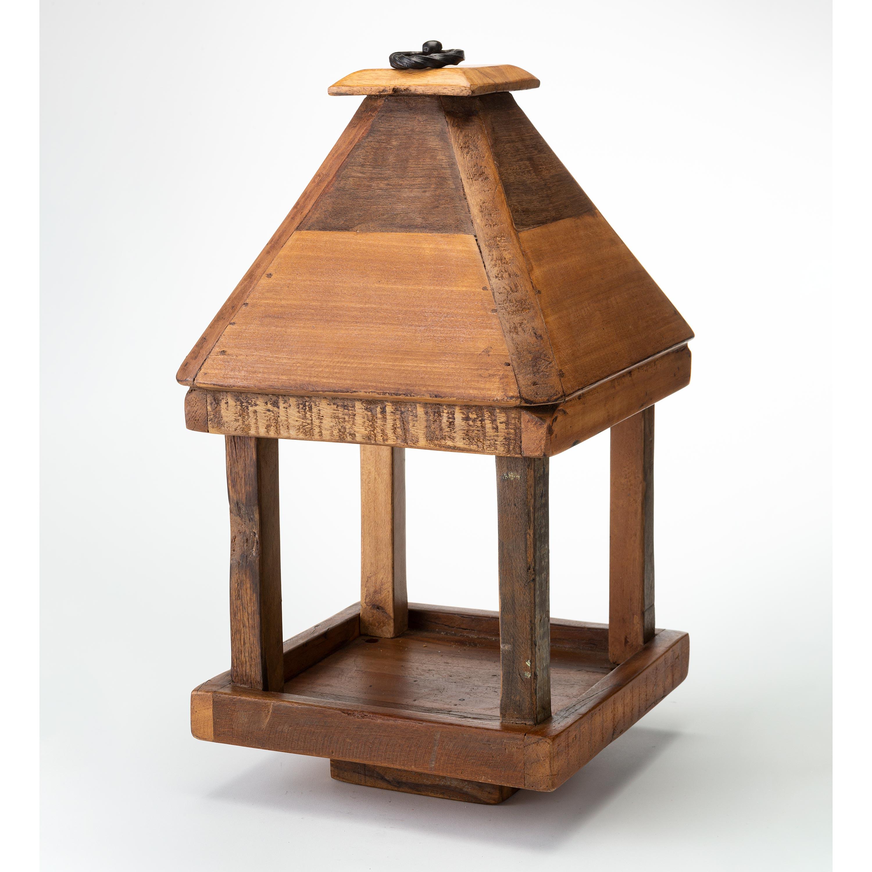 Reclaimed Wood Open Platform Bird Feeder with Roof (Home & Garden Decor) photo