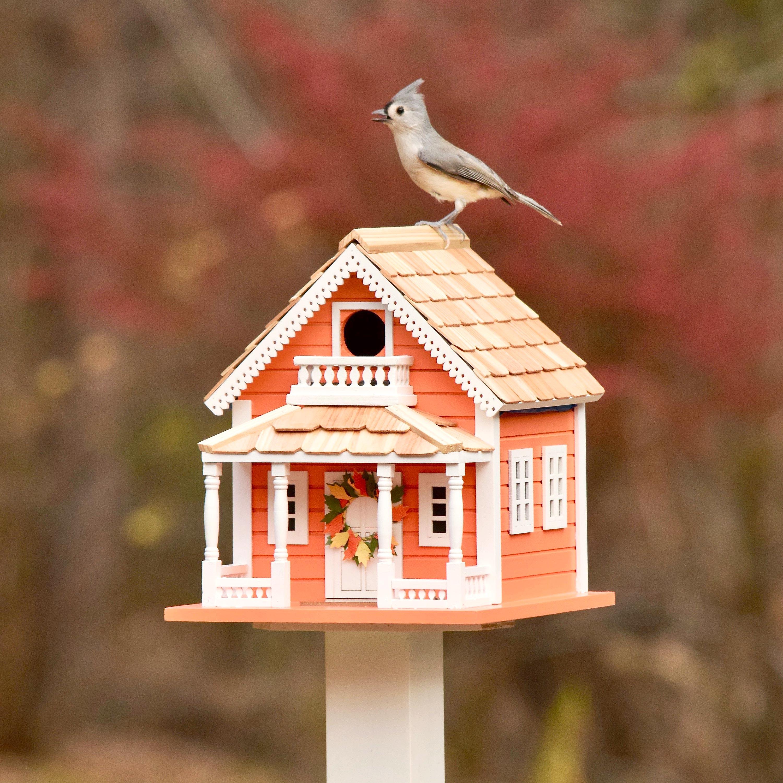 Autumn Daze Wooden Birdhouse with Pedestal Pole Set (Home & Garden Decor) photo