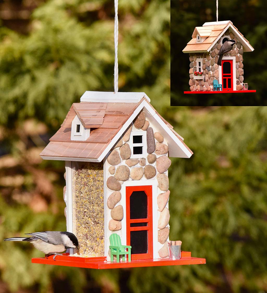 Stone Cottage Birdhouse and Bird Feeder Set (Home & Garden Decor) photo