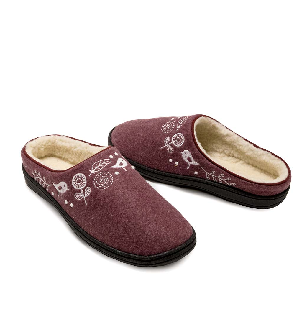 Acorn Talara Mule Slippers, in Garnet Heather Size M (6½-7½)