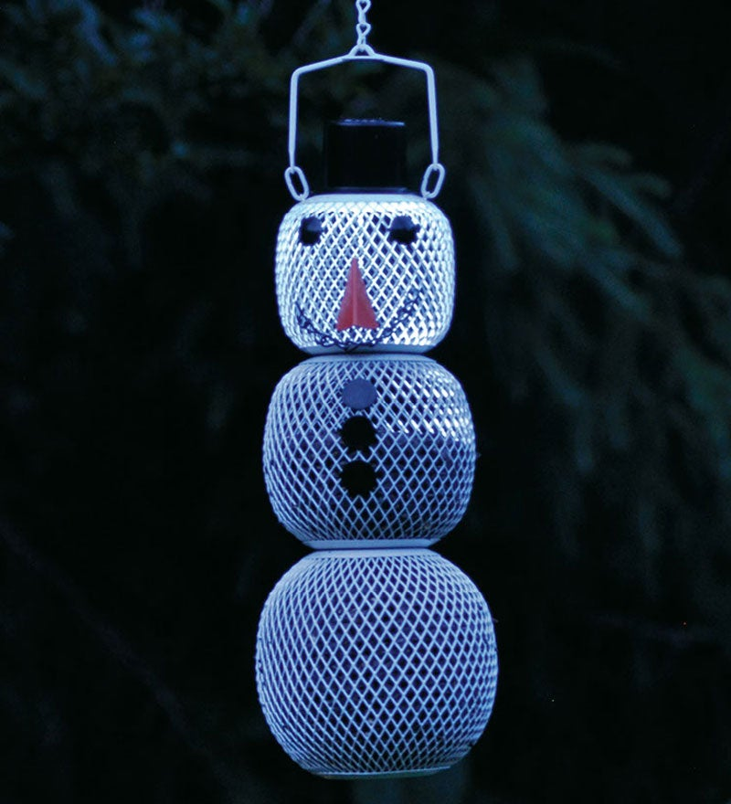 Three-Tier Metal Solar Snowman No-No Bird Feeder (633686003562 Home & Garden Decor) photo
