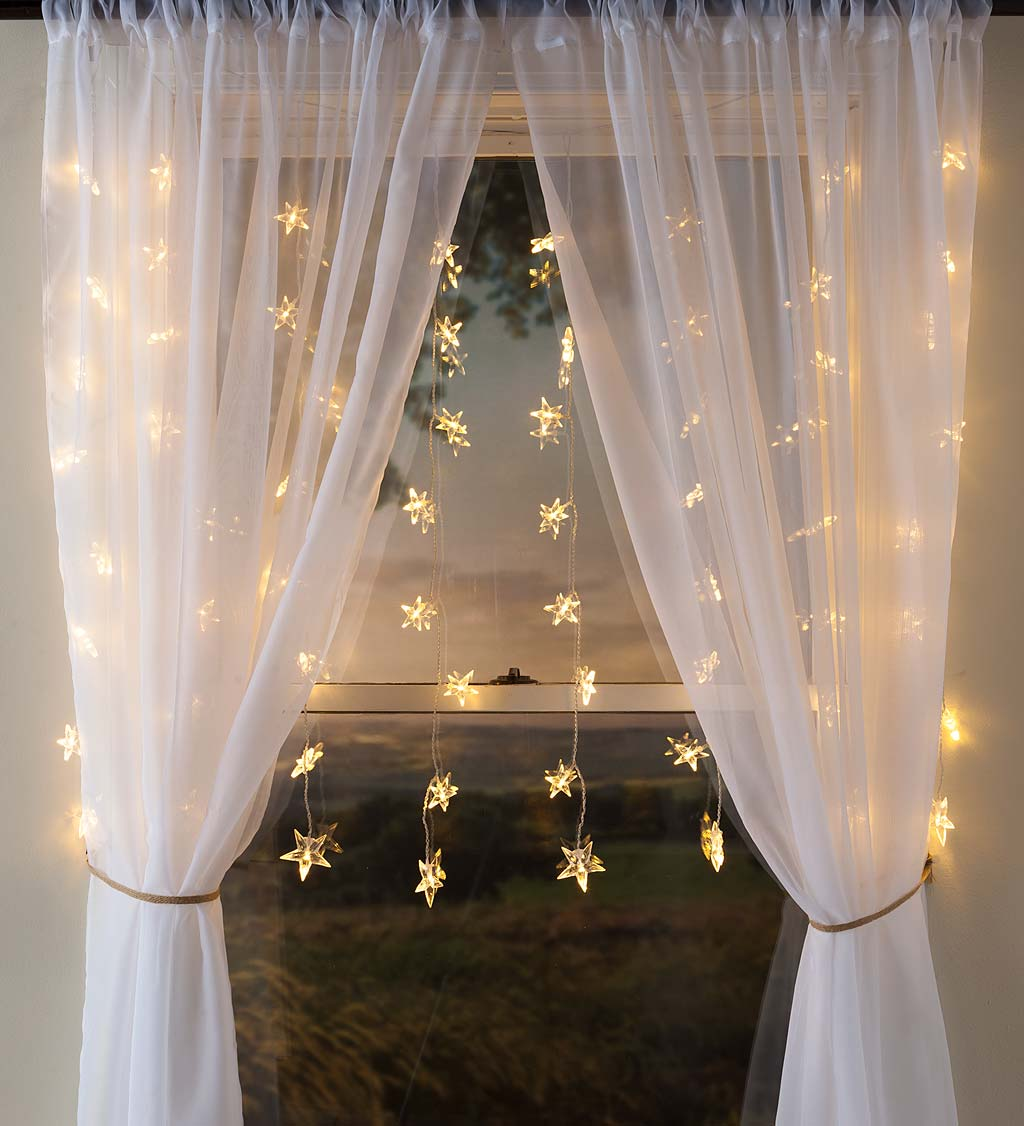 """Electric Star Curtain Lights on Clear Wire, 64 Lights, 42""""L"""