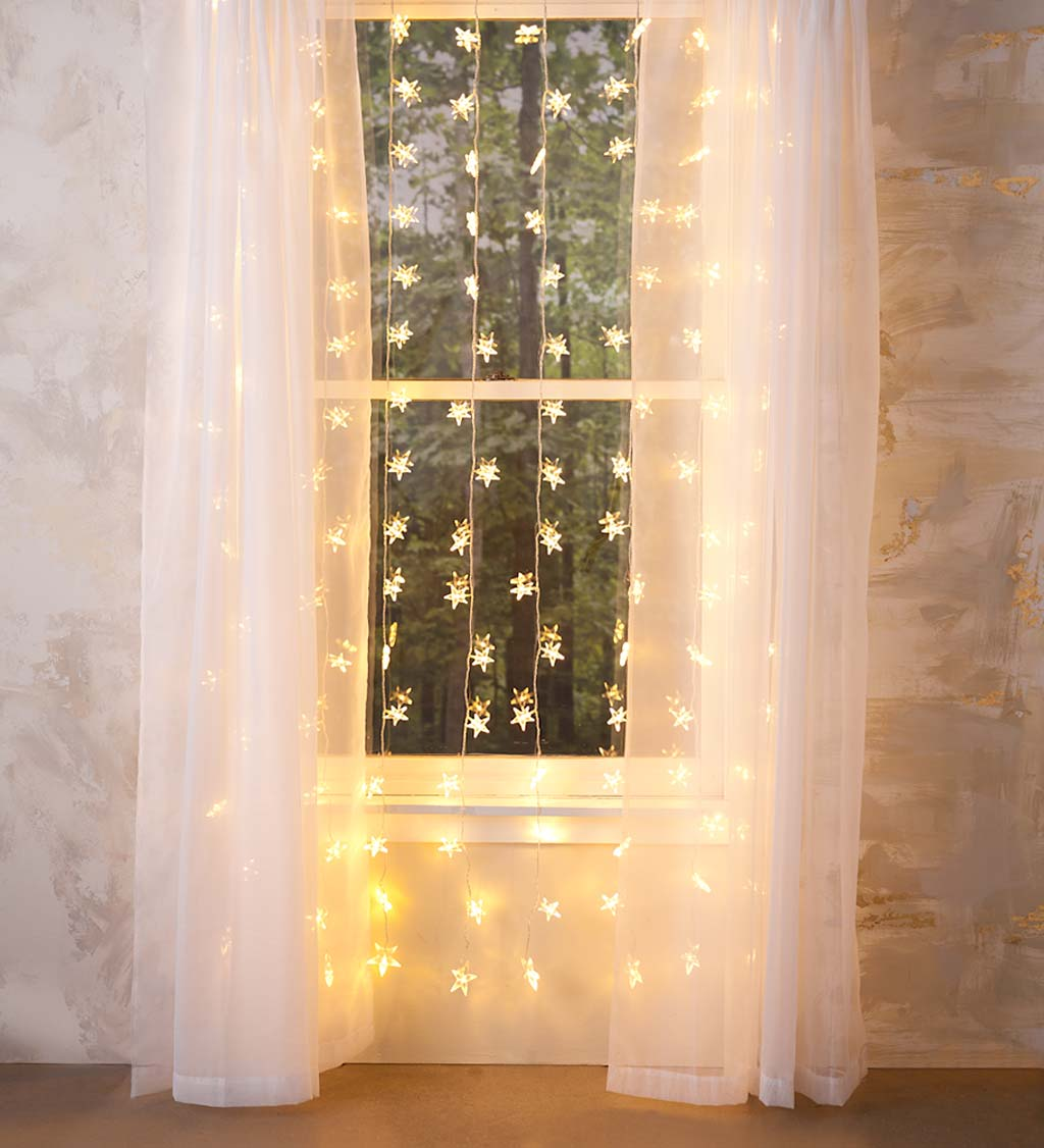 """Electric Star Curtain Lights on Clear Wire, 128 Lights, 78""""L"""