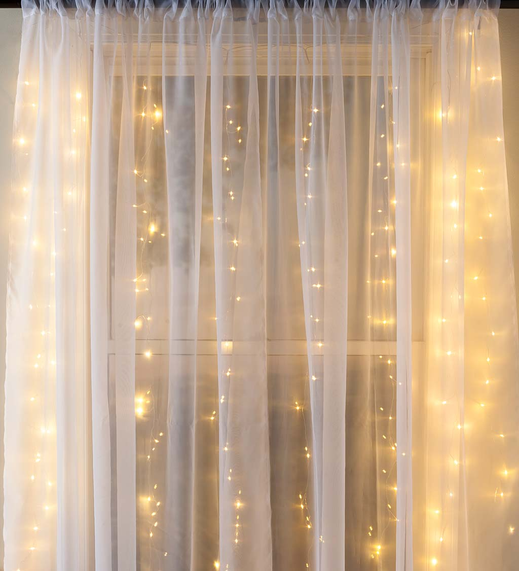 """Electric Micro Curtain Lights on Silver Wire, 160 Lights, 39""""L"""
