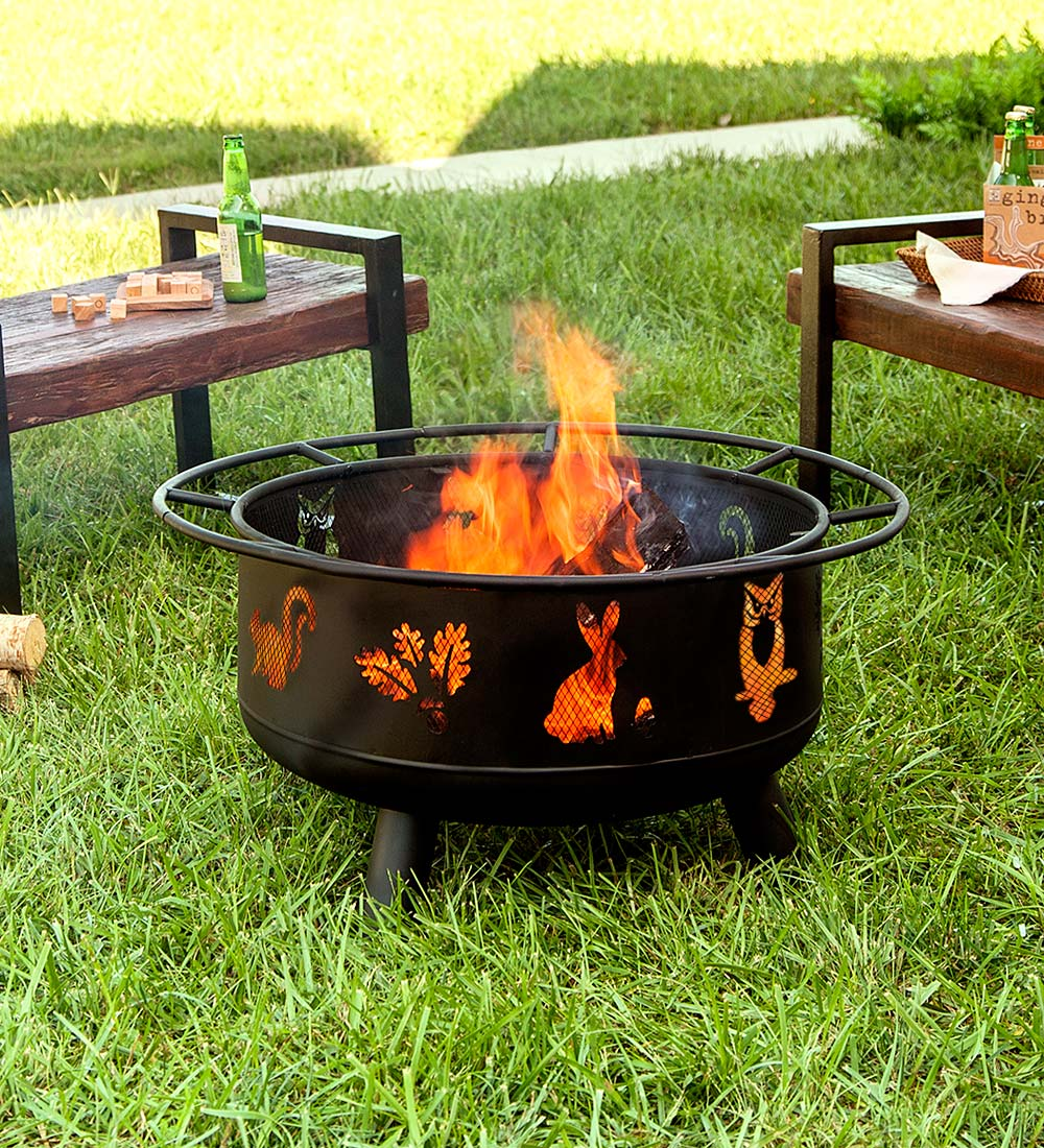 Woodland Animals Outdoor Fire Pit with Spark Guard & Fire ...